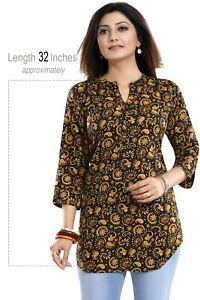 Women-Indian-Kurti-Tunic-Kurta-Shirt-Short-Printed-Black-Dress-SC2709
