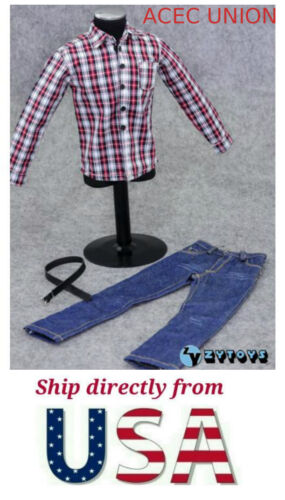 1//6 Black Red Plaid Long Sleeves Shirt Jeans Set For Hot Toys Male Figure USA