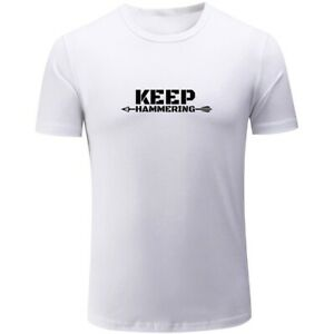 New-Keep-Hammering-Design-Mens-Boys-Casual-T-Shirts-Print-Tops-Graphic-Tee-Shirt
