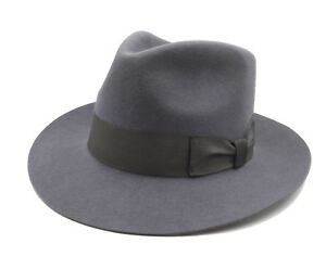 40f4863e417 Men s Wool Felt Godfather Fedora Trilby Hat Gangster Mobster Hat ...