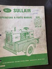 Sullair Air Compressor Operators Manual Parts List Gpdp 150 Book Guide Repair