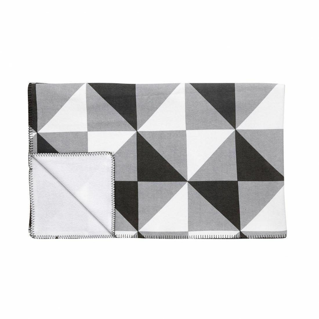 Patrón geométrico Colcha Manta impreso en blancoo y gris por..