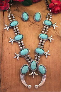 Squash-Blossom-Necklace-Set-Turquoise-Howlite-Silver-Tone-Cowgirl-Tribal-Gypsy