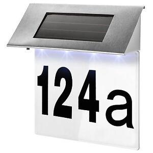 solar hausnummer beleuchtung hausnummer beleuchtet hausnummernleuchte edelstahl ebay. Black Bedroom Furniture Sets. Home Design Ideas