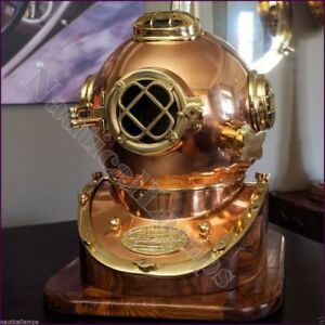 Marine-Sea-Scuba-Navy-Style-Replica-Polished-Brass-and-Copper-Diving-Helmet-Gift