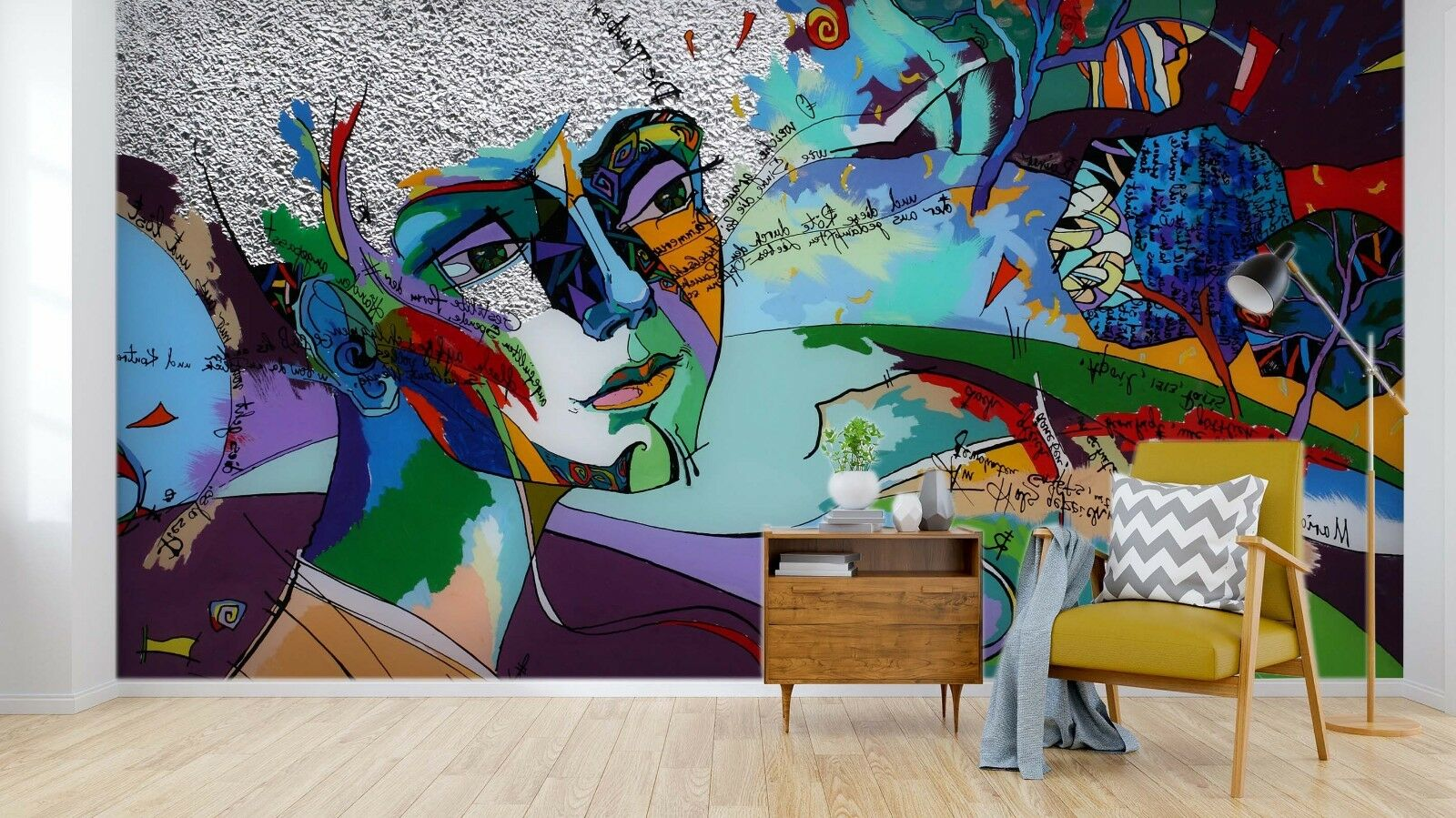 3D Graffiti Face 994 Wall Paper Murals Wall Print Wall Wallpaper Mural AU Summer