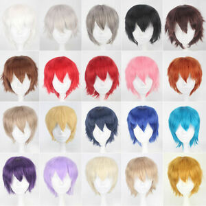 New-Male-Female-Straight-Short-Hair-Wig-Cosplay-Party-Anime-Full-Wigs-Colorful