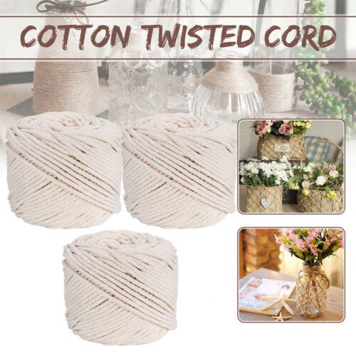 2//3//4//5mm Macrame Rope 100/% Natural Beige Cotton Twisted Cord  DIY Craft