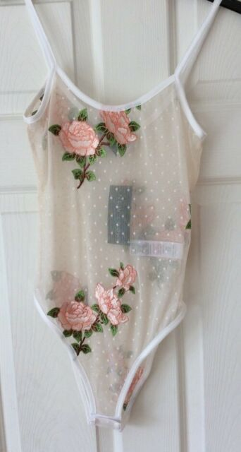 New Look - White Spot Mesh Embroidered Bodysuit - Size 10 - BNWT