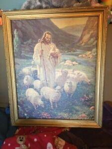 Warner-Sallman-034-THE-LORD-IS-MY-GOOD-SHEPHERD-034-framed-canvas-art-1942-18-x-23