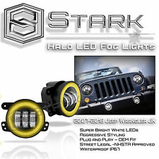 "30W CREE 4"" In LED Fog Light WHITE Halo Angel Eyes (YELLOW) Wrangler 07-16"