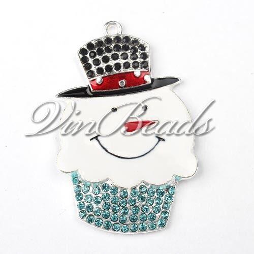 5pcs 52*34mm Rhinestone Snowman Pendant Chunky Necklace Beads Christmas Jewelry