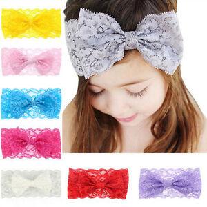 Baby-Maedchen-Schleife-Spitze-Haarband-Stirnband-Kopfband-Haarschmuck-8-Stueck-Set