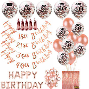 Rose-Happy-Birthday-Bunting-Banner-Balloons-18-21st-30-40-50-60th-Party-Decor