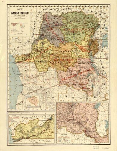 """18/"""" x 24/"""" 1896 Map of Carte du Congo Belge Congo"""