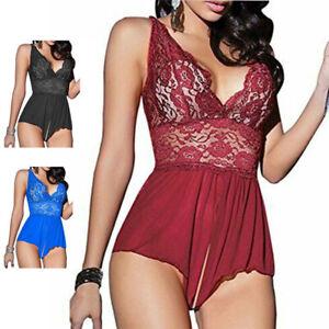 Sleepwear-Lace-Women-Crotchless-Sexy-Lingerie-Red-Bodysuit-Babydoll-Underwear