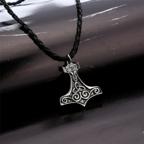 Thors Hammer Pendant Necklace Mjolnir Viking Nordic Avengers Silver Leather Thor