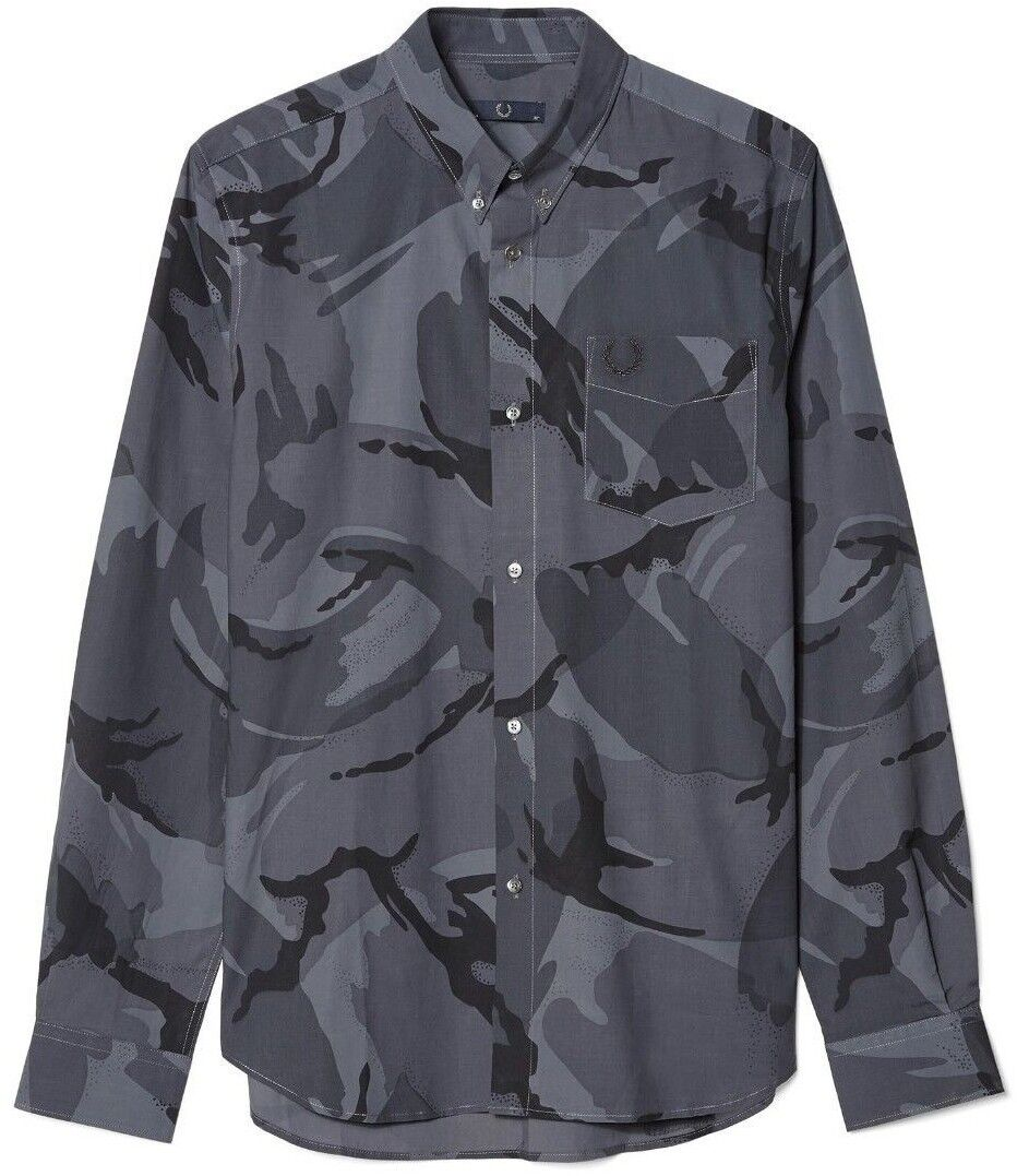 Fred Perry Logo Laurel Wreath Camouflage Button Down Slim Fit Shirt 44  XL