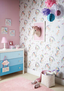 Image Is Loading Rainbow Unicorn Glitter Room Concept Girls Bedroom Wallpaper