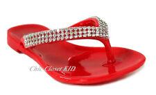Girls Toddler Rhinestone Jewel Stone Jelly Shoes T-Strap Flip Flops Sandals NEW
