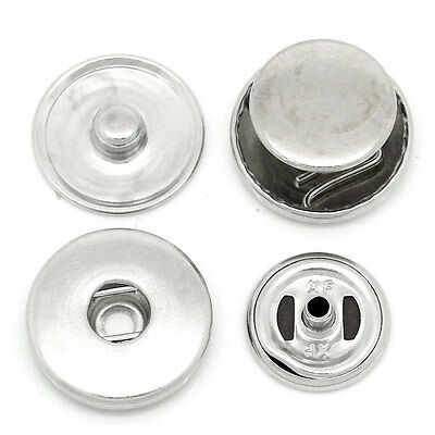 20Sets Pop Aluminum Snap Buttons Fit DIY Bracelets Silver Tone