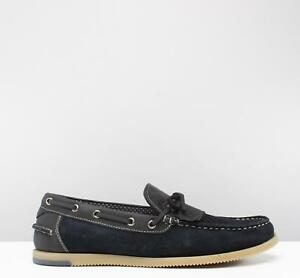 5c7558596a527 Details about Silver Street London SAVOY Mens Casual Suede Fringe Loafers  Deck Shoes Navy Blue