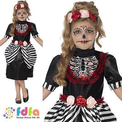 SUGAR SKULL DAY OF THE DEAD HALLOWEEN -age 4-12 - kids girls fancy dress costume