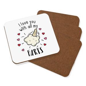I-Love-You-Avec-Tout-Mon-Pets-dessous-de-Verre-Set-De-4-Drole-Saint-Valentin
