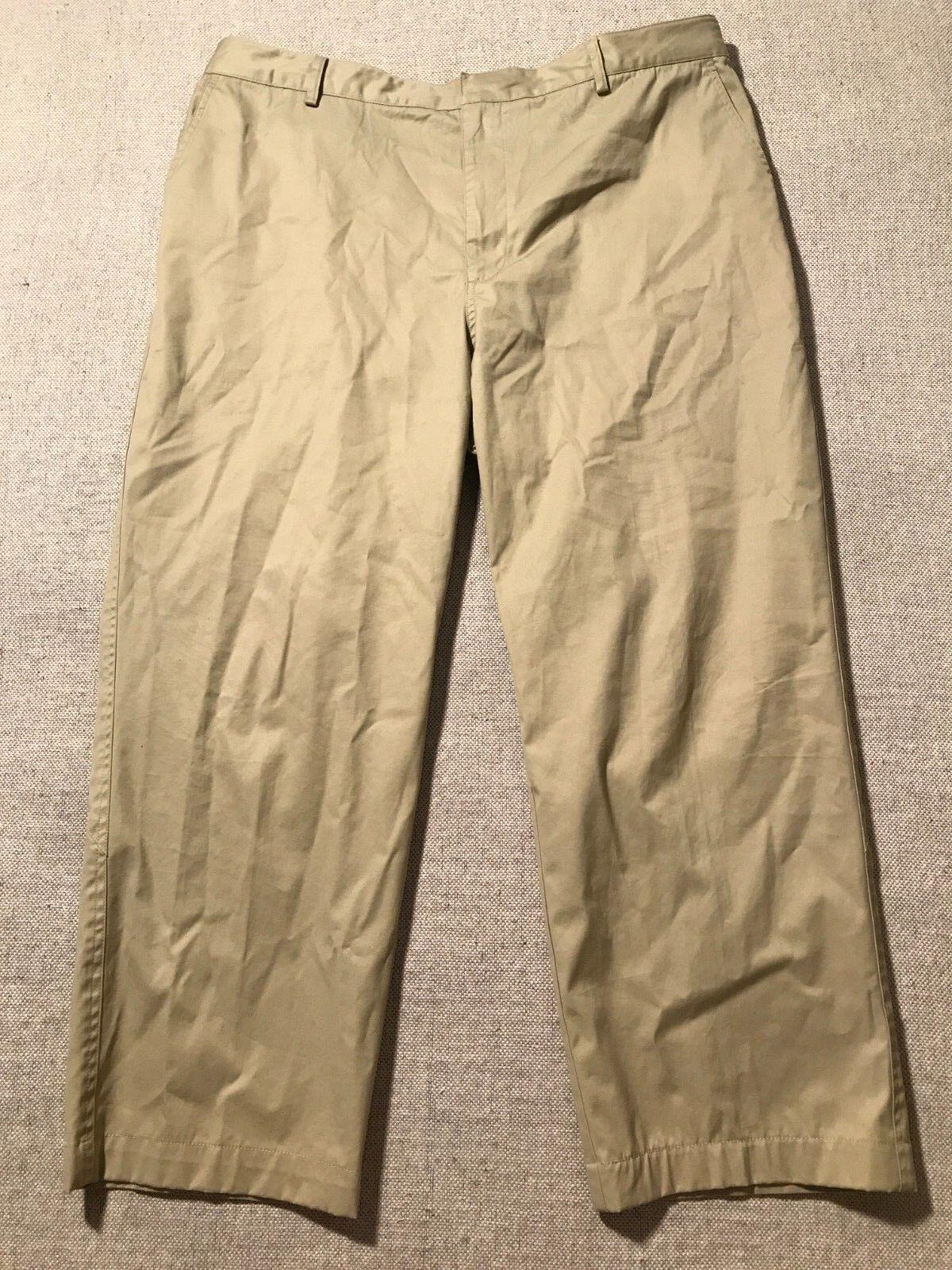 Zero Restriction Men's Flat Front Khaki Pants Beige See Meas  C9
