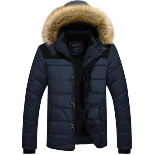 Men Winter Padded Coats Hoodies Quilted Jackets Parka Hooded Overcoat Outwear