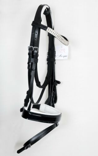 *BLING* PATENT LEATHER SHOW BRIDLE WITH DIAMANTE BROW BAND BLACK//WHITE PADDED.