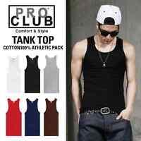 2 Pro Club Black A-shirts Wife Beater, Tank Top Under Shirts Size S - 5xl