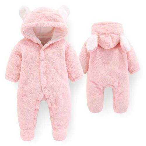 Baby Girls Boys Bear Velvet Outfits Jumpsuit Romper Winter Warm Clothes LL