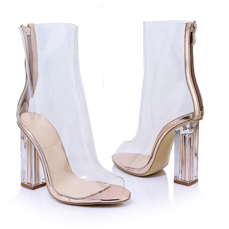 Transparent Sandaleen Damen Mode Pumps High Heel Blockabsatz Freizeit