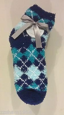 Ellen Tracy 3 Pr Women/'s Warm Fuzzy Chenille Slipper Socks Blue Navy Zebra