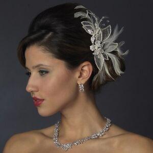 Silver & White Feather Austrian Crystal Rhinestone Wedding Bridal Hair Comb Clip