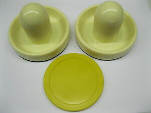 """2 NEW Air Hockey Mallet Pusher Handles in White 3-3/4"""" and a Yellow Puck 3-1/4"""""""