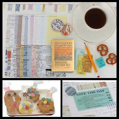 27pcs Paper Masking Sticker Tape Scrapbooking Diary Deco Label Tag Cooking Pack