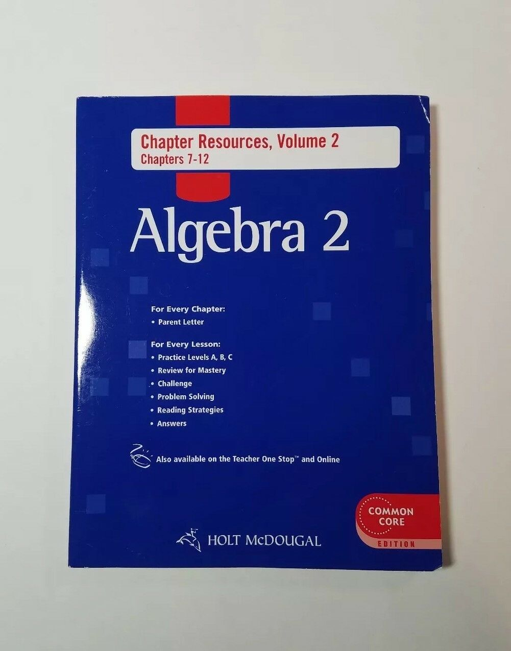 Algebra 2 Chapter Resource Book With Answers Vol 1 Chapters 7 12 Holt Mcdougal