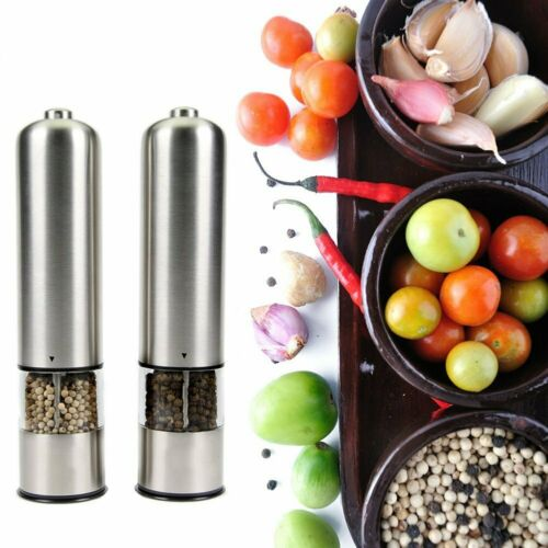 2X Automatic Electric Mill Pepper Salt Grinder Led Light Spice Grain Mill UK