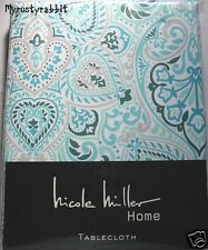 Fabric Tablecloth Beige Teal Lime Medallions 60x102