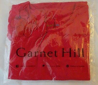 New Garnet Hill RED Girls Sz Medium 6 - 7 Tee Top Cotton Flower Design So Sweet