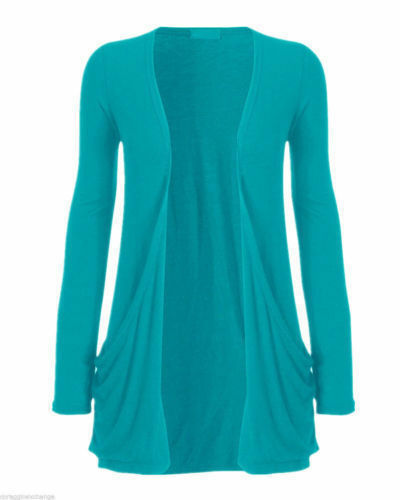 Womens Ladies Plus size Plain Boyfriend Open Cardigan Long Sleeve Pocket 8 to 22