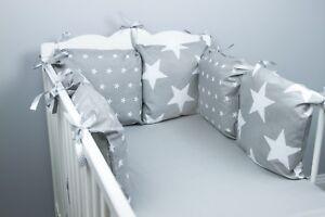 Cuscino-paraurti-culla-lettino-PARAURTI-realizzata-in-6-cuscini-grigio-stelle-cuscini-morbidi