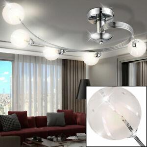 Decken Lampe Leuchte Glas Kugel Spots 4-flammig Beleuchtung Wohn Ess Zimmer Büro