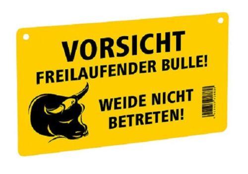 Precaución cárnica precisando toro pastos no pisar el escudo nota