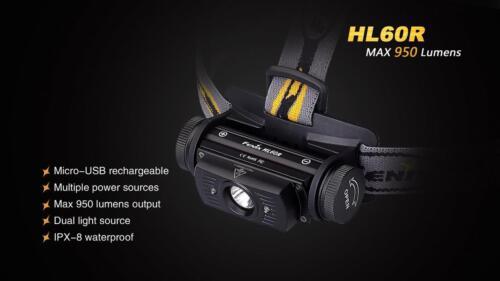 Fenix HL60R 950 Lm Rechargeable USB projecteur avec AC /& voiture adaptateurs USB