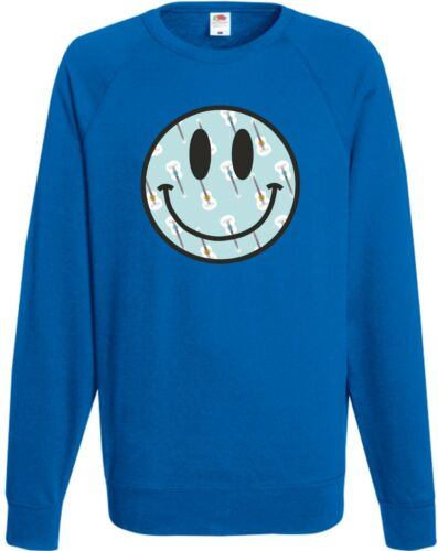 Guitar Rave Face Sweatshirt Retro Smiley Jumper Fun Hipster Present Top Gift FC