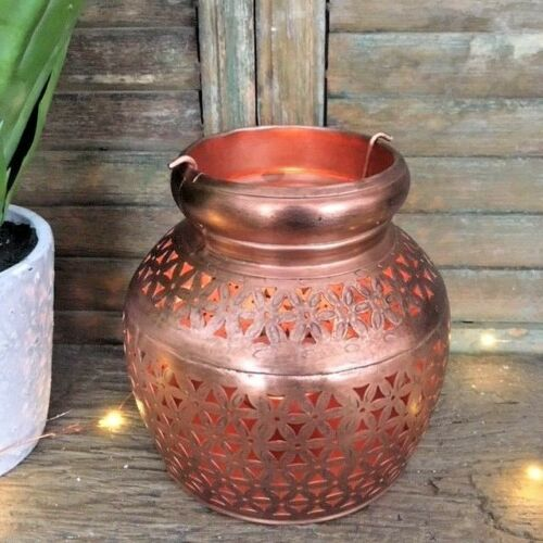 Rustic Moroccan Style Copper Metal Tea Light Candle Holder Wedding Table Decor