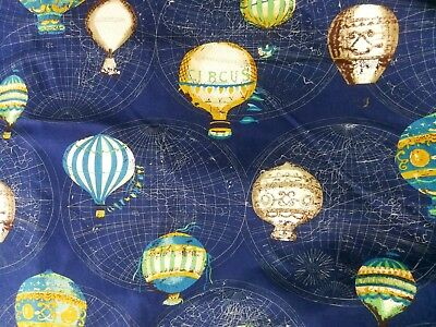 Quilt Cotton Fabric 70s Retro Vintage Hot Air Ballon Blue Fat Quarter Half Meter
